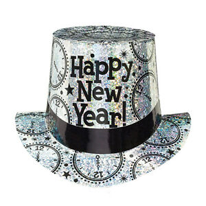 CLEARANCE Happy New Year Silver Clock Prismatic Foil Top Hat
