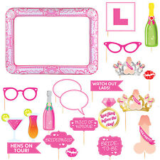 PINK HEN PARTY SELFIE FRAME AND PHOTO PROPS SET - 20 Props with Inflatable Frame