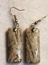 handmade chakra crystal hook dangle earrings gray crazy lace agate FREE SHIPPING