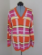 VINTAGE 80s BAGGY MULTI-COLORED STRIPED ACRYLIC SWEATER by FASHION FORMULAS -MED