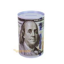 "$100 Dollar Bill Piggy Bank Coin Storage Money Saving Can Benjamin Franklin 5"""