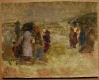Russian Ukrainian Soviet Oil Painting impressionism figure walk lake sketch 1950