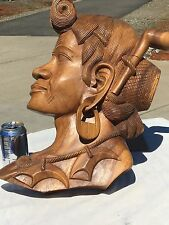 Hand carved wooden African  Man Wall Hanging 1950's Beautiful! Pipe IN EAR