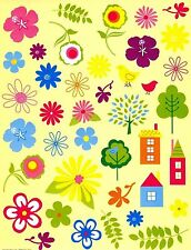 Flower, trees, and house stickers. Large and small stickers. 35+ stickers!