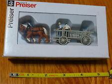 Preiser HO #30436 Horse-Drawn Wagon -- Hay Rack w/Horses, Driver & Helper