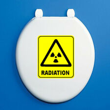 RADIATION SIGN - Toilet Seat Vinyl Sticker - Black Humorous / Bathroom Themed