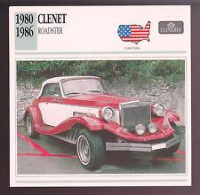 1980-1986 Clenet Roadster Car Photo Spec Sheet CARD 1981 1982 1983 1984 1985