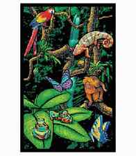 RAINFOREST - BLACKLIGHT POSTER - 24X36 FLOCKED NATURE ANIMALS 6015