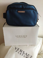 Versace Cosmetic Makeup Wristlet Travel Bag in Blue NEW in box With dust bag___