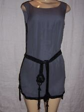 French Connection Tunic Top 100% silk Gray with Black beaded belt Size 4 NWT
