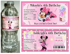 20 MINNIE MOUSE BIRTHDAY PARTY FAVORS ~ WATER BOTTLE LABELS