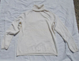 NEW Pendleton L Womens Ivory Cream 100% Merino Wool Turtleneck Sweater Very Soft