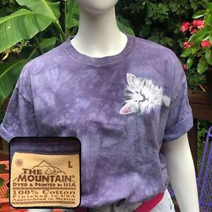Vintage The Mountain T Shirt Cat Purple Tie Dye 90s Hippy Surfer Novelty