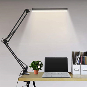 LED Desk Lamp Metal Swing Arm Reading Light with Clamp Eye-Care Modern Architect