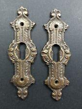 "2 Antique Brass Keyhole French Escutcheons Hardware Ornate  Keyhole 3 1/4"" #E20"