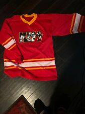 Kiss Faces And Letters Ren Yellow Whote Heavy Metal Hockey Jersey