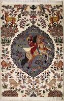 Rugstc 3x5 Pak Persian Ivory  Rug, Hand-Knotted,Pictorial Hunting,Silk/Wool