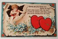 Valentines Heart Cupid Embossed Postcard Conwell 1909 Flowers Poem & Gold Gild