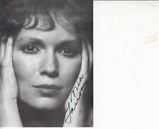 MIA FARROW HAND SIGNED 6 x 4 INCH BLACK AND WHITE PHOTO CARD