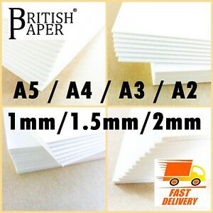 A6 A5 A4 A3 A2 BACKING BOARD CRAFT CARD THICK PAPER OFF WHITE GREYBOARD 1mm 2mm