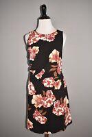 LEITH NEW $69 Black Side Drape Floral Print Sleeveless Sheath Dress Medium