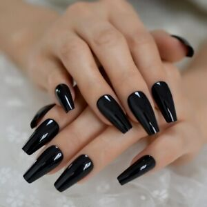 Black Tapered Coffin Nails UV Gelnails New Shape Solid Color Fake Nails Ladies