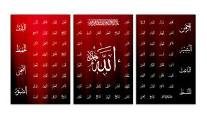 """3 Panel Islamic Wall Art Canvas 99 NAMES OF ALLAH 60""""X30"""" Red Black Abstract"""