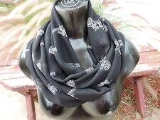 circle loop infinity scarf chiffon fashion African leopard big cat print black
