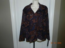 Briggs blouse womens 1X womens button front shirt Paisley blue browns NWT