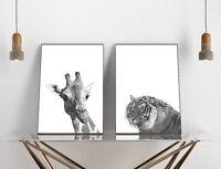 Set of 2 Giraffe Tiger Black White Zoo Animals Home Decor Poster Prints Wall Art