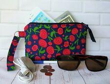 Handmade Wristlet Zipper Purse Wallet Makeup Bag Phone Case Navy Roses Gift