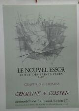 AFFICHE ORIGINALE ANCIENNE EXPOSITION GERMAINE DE COSTER GALERIE PARIS 1973