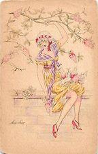 <A18> ARTIST SIGNED Postcard XAVIER SAGER Art Nouveau c1910 Sur Le Mur Woman 14
