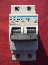 Réf NF206 OU NFN206 DISJONCTEUR HAGER 2P 6A 6/10kA COURBE C 230;400V NEUF