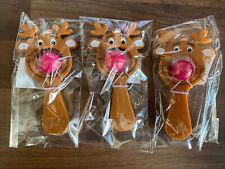 3 Christmas Mini Reindeer Paddle Ball Game Party Bag Filler Xmas Eve Box