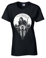Morte Racer T-Shirt Donna S-2XL Biker Rock Metal Goth Mietitore Moto Death