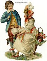 Vintage Victorian die cut paper scrap, reading couple from c. 1880