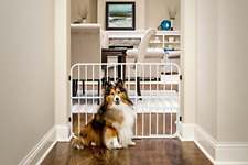 Tuffy Metal Expandable Pet Gate, Includes Small Pet Door 24 x 26-42 inch Beige