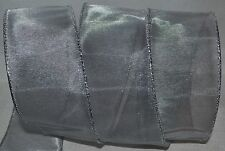 """New listing Wired Ribbon~Sheer~Metallic Silver Fine Mesh~2.5""""~Holiday~Wr eath~Gift~Craft~Bow"""