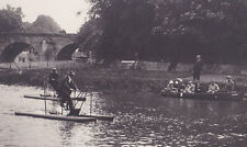 large vintage photo early water bicycle Bouillon Belgium pedalo pedal boat 1910