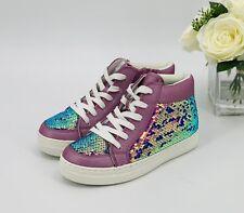 *NEW Girls' Yesenia Flip Sequin High Top Sneakers Size 3 Shoe Purple Metallic