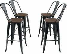 """4Pcs Bar Stools Metal Dining Chairs Solid Wood Surface W/ Removable Backrest,30"""""""
