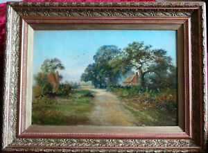 BEAUTIFUL LANDSCAPE WITH OLD ENGLISH VILLAGE. OIL ON CANVAS (1904).