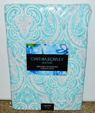 "New Cynthia Rowley Indoor Outdoor Tablecloth 60"" x 84"" Oblong Paisley Blue"