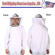 HOT Large Beekeeping Bee Keeping Suit, Jacket, Pull Over, Smock with Veil White#