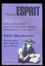 ESPRIT 7/8.1977 H.Meschonnic  pour une poésie aussi quotidienne que la politique