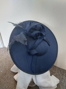 Navy Twist and Feathers Fascinator