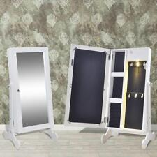 Tabletop Mirror Jewellery Box Organiser Storage Cabinet with LED Light - White