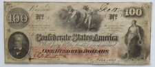 T-41 $100. 1862 Confederate States of America Note (J. Whatman) watermark