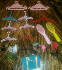 Lot of 20+ Mattel 1980's Barbie Doll Misc Accessories ~ Hangers Brushes Necklace